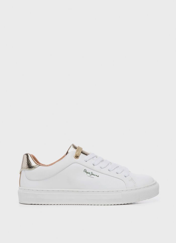 4b8f322f5ef LEATHER SNEAKERS ADAMS PREMIUM, WHITE, large