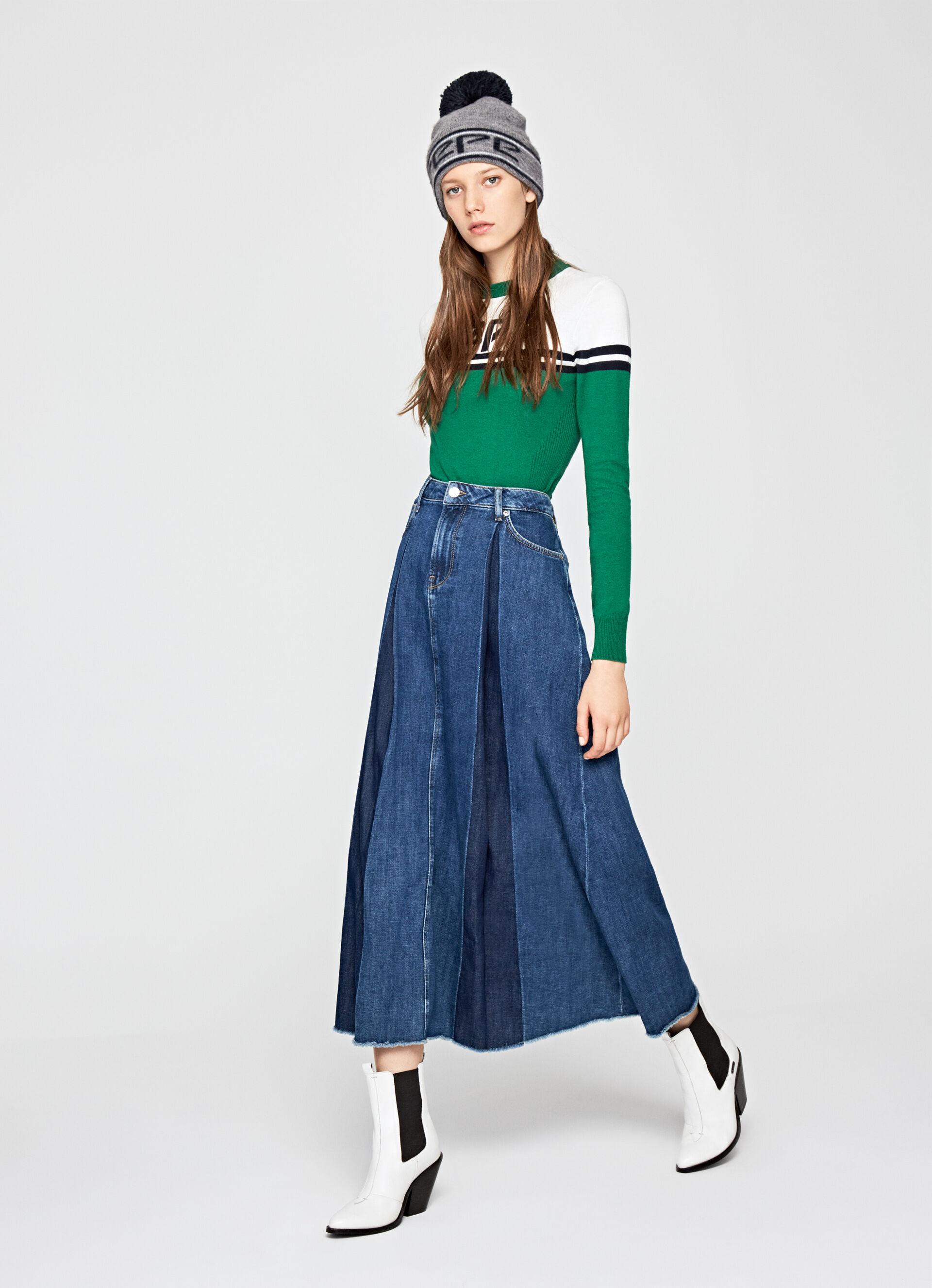 Flared Denim Skirt SKIRT88 Womens Jean Mini Skirt Midi