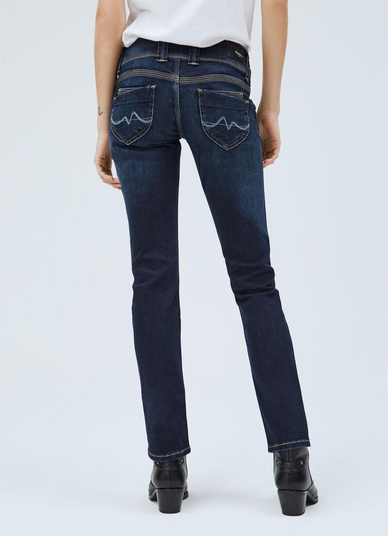 Pepe Jeans Vénus Femmes Straight Leg Low Waist Tissu Pantalon 29//34 w29 l34 Beige NEUF