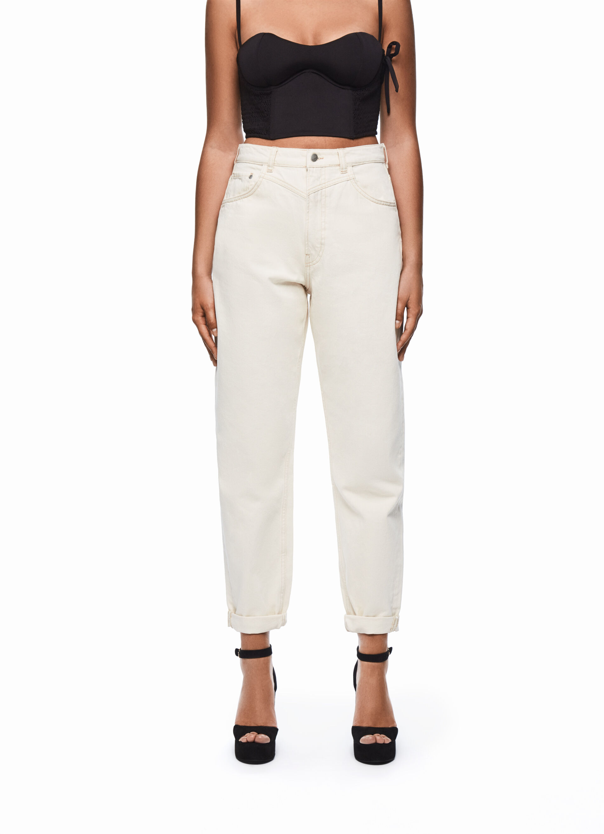 DUA LIPA X PEPE JEANS White High Rise Denim Jeans