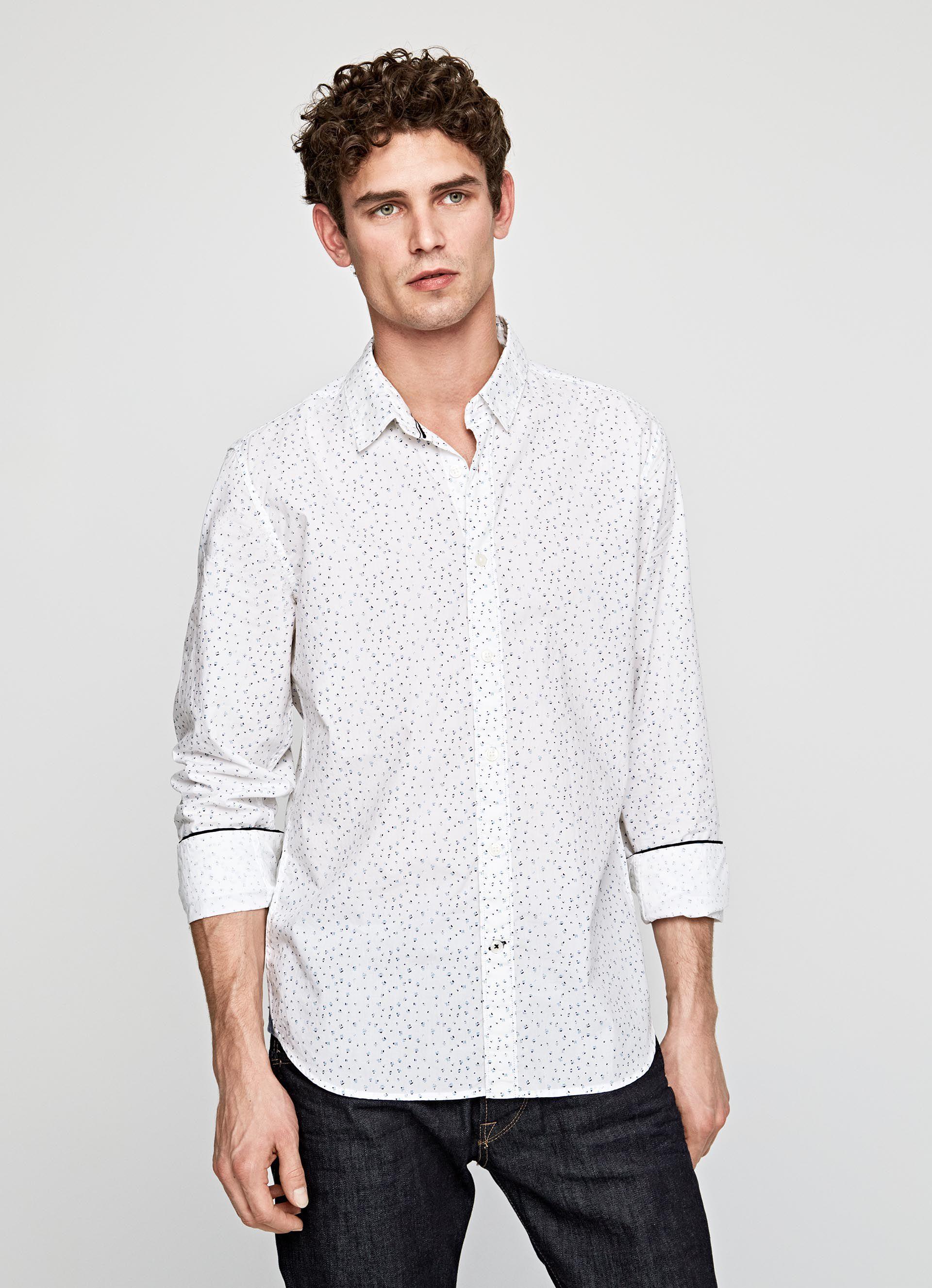 micro Grande Camisa estampado de Blanco con Peyton YxOqPE