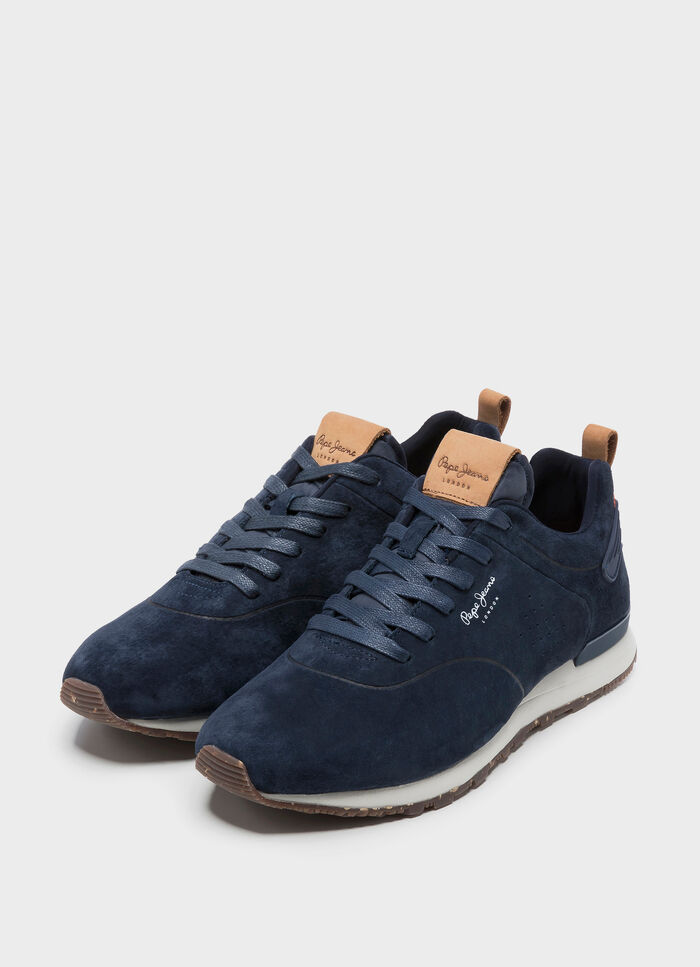3b53d368607 LEATHER SNEAKERS BOSTON SMART SUMMER, NAVY, large