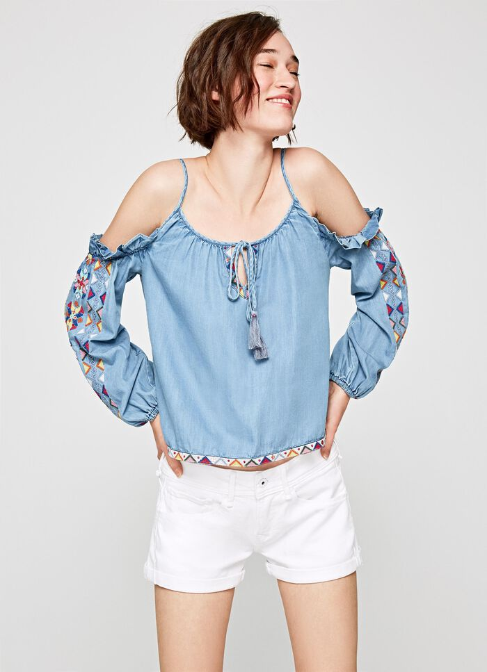 b6aad380d3657 Price High to Low. HALLE EMBROIDED OFF THE SHOULDER BLOUSE