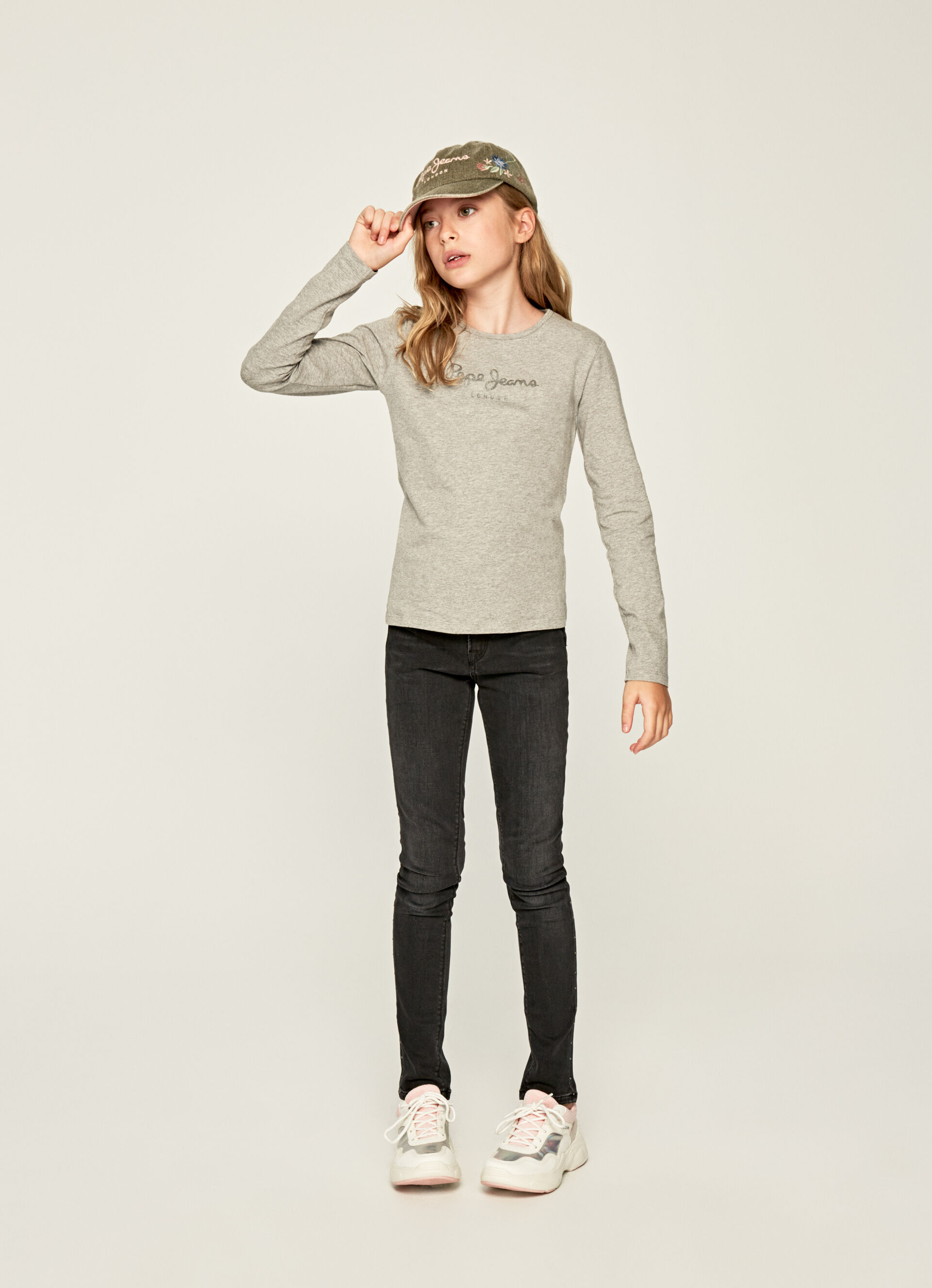 Pepe Jeans Hana Glitter L//S T-Shirt Bambina